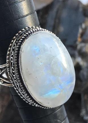 Кольцо с натуральным лунным камнем, адуляр