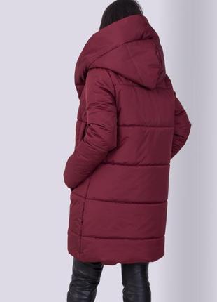 Распродажа! бордовая женская зимняя куртка с капюшоном высокого качества| пальто