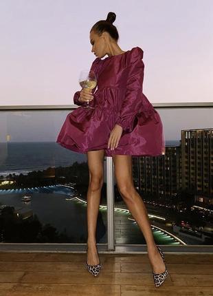Zara новая коллекция! платье из тафты цвета фуксии