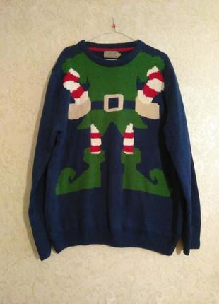 Рожднственский свитер эльф-помощник санта клауса, унисекс