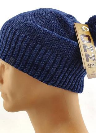 Вязаная шапка мужская длинная чулок теплая
