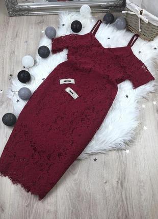Кружевное платье нарядное вечернее праздничное новогоднее миди