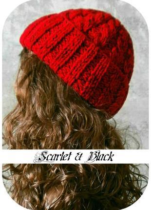 Любая расцветка! хлопковая шапка с отворотом/косы/алого, чёрного цвета/меланж