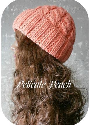 Любая расцветка! хлопковая шапка с отворотом/косы/нежно-персикового цвета
