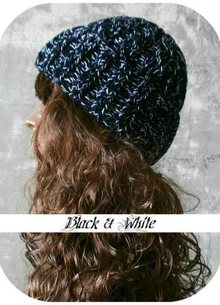 Любая расцветка! хлопковая шапка с отворотом/косы/чёрного, белого цвета/меланж
