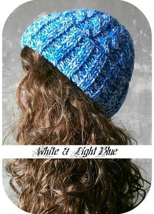 Любая расцветка! хлопковая шапка с отворотом/косы/белого, светло-синего цвета/меланж