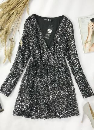 Нарядное платье расшитое пайетками с акцентом на линии груди и талии  dr 1941145  boоhoо