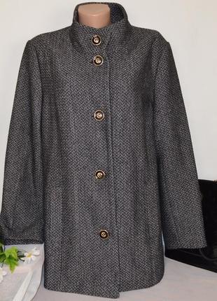 Брендовое шерстяное демисезонное пальто с карманами autonomy этикетка