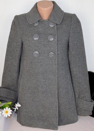 Брендовое серое демисезонное пальто полупальто с карманами jsfn шерсть этикетка