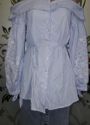 Женская блуза/рубашка в полосочку, с открытыми плечами