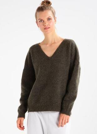 Шерстяной мохеровый свитер джемпер пуловер хаки оверсайз свободного кроя