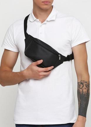Мужская черная бананка, сумка на пояс/плечо