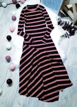 Платье с ассиметричным низом в рубчик stradivarius
