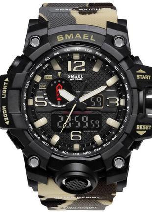 Мужские наручные стильные недорогие популярные часы smael цвет хаки