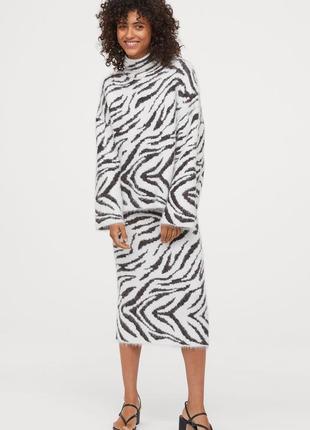 Стильный, тёплый костюм в принт зебра h&m,p.m