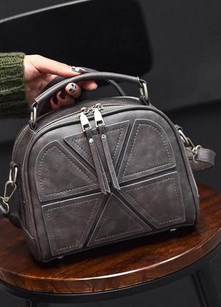 Женская кожаная серая небольшая повседневная сумка клатч с ремешком
