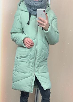 🌿 зимнее пальто • пуховик • куртка «одеяло» мятного цвета оверсайз