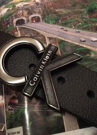 Новый чёрный кожаный ремень calvin