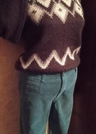 Шикарный зимний look шерстяной свитер+вельветовые брюки мом