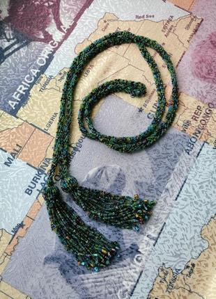 Лариат пояс из бисера ожерелье