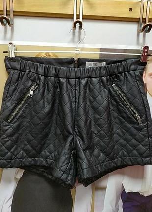 Кожаные шорты утеплённые (экокожа)