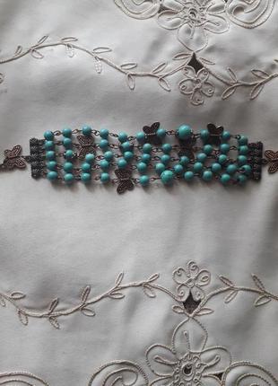 Бирюзовый пятиярусный браслет