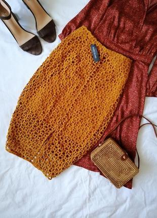 Невероятная юбка карандаш кружевная миди спідниця міді в'язана