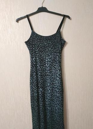 Крутое нарядное бархатрое длинное леопардовое платье комбинация в пол kookai размер xs-s.