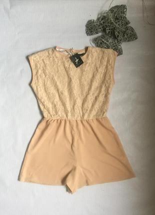 Нежный комбинезон  шорты ажур  на невысокую девушку
