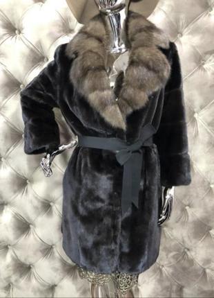 Норковая шуба amato с соболем, blackglama 90 см, 44-46, пальто