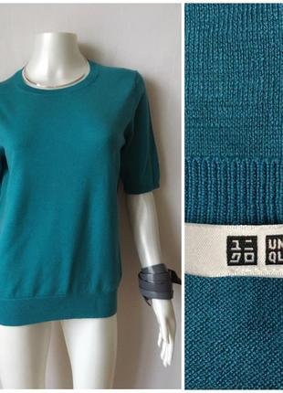 Uniqlo яркий бирюзовый джемпер из гладкой тонкой шерсти