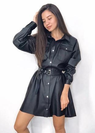Кожаное платье-рубашка с поясом
