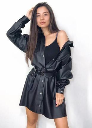 Кожаное платье-рубашка с поясом2 фото