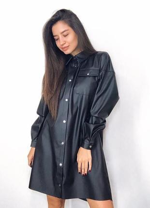 Кожаное платье-рубашка с поясом3 фото