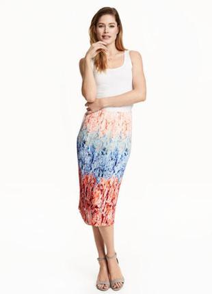H&m разноцветная юбка миди плиссе м-l/10-12