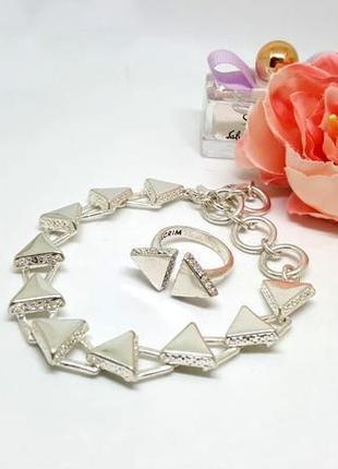 """Оригинальный набор """"треугольники"""" браслет и кольцо посеребренние, кристаллы дания pilgrim"""