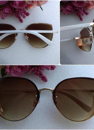 Новые модные очки бабочки с боковой защитой, коричневые с белыми дужками