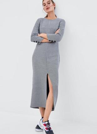 Красивое теплое длинное платье zara трендовый принт гусиная лапка длина миди