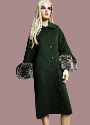 Эксклюзивное пальто из альпаки , мех чернобурка , хаки италия италия италия