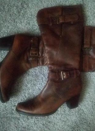 Високі  шкіряні чоботи tamaris /импортные кожаные сапожки /сапоги