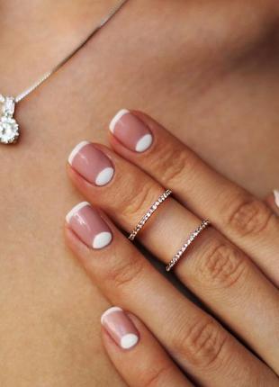 Двойное кольцо с цирконием / позолоченное кольцо / кольцо шикарное