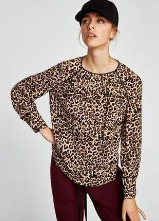Тренд 2019 блузка с разноцветным animal print zara basic turkey