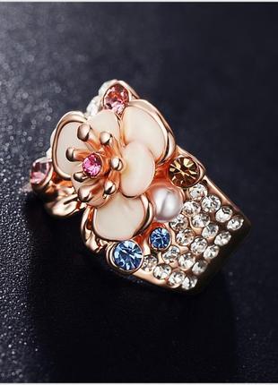 Кольцо цветок / кольцо позолота / шикарное кольцо