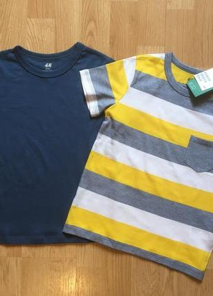 Набор футболок h&m, фирменная футболка для мальчика, р. 4-6 л, 110-116