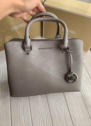 Сумка michael kors savannah medium saffiano leather satchel кожа оригинал