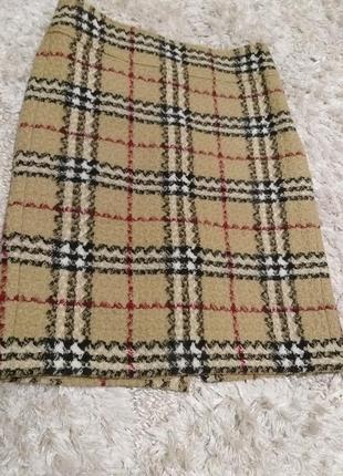 Теплая юбка burberry шерсть буклированная  оригинал