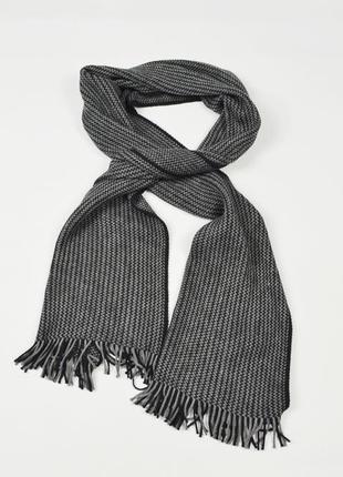 H&m шарф мужской длинный серо черный  акриловый