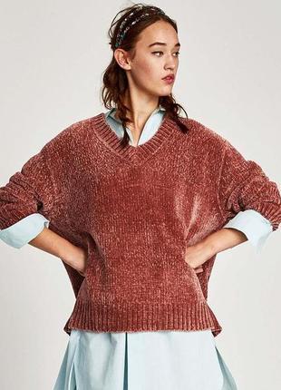 Новый велюровый вязаный плюшевый свитер zara нежный и теплый