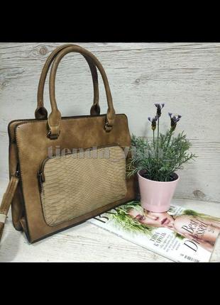 Женская сумка с наружным карманом e7100 коричневая