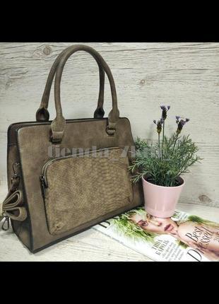 Женская сумка с наружным карманом e7100 серо-коричневая